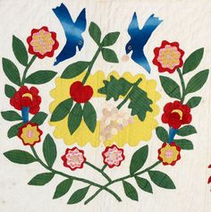 Detail, a beautiful Baltimore Album Quilt, circa 1850.  Offered by Stella Rubin Antiques