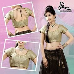 """Golden Crochet layer on Black Ready Made Padded Saree Blouse. """"Ra apparels"""" launched by MuHeNeRa Ra 43"""