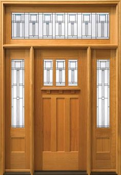 Use frosted vinyl to look like etched glass on the sunroom doors in this deco/craftsman design (well, a little customized version of it, anyway) to add privacy to the double glass doors without having to install curtains or shades.  International Door and Latch SIG101 Entry System
