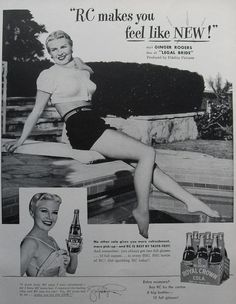 ads from the 40s | 1947 ROYAL CROWN COLA RC soda vintage advertisement Ginger Rogers ...