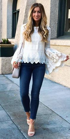 stylish look white lace blouse   bag   skinny jeans   heels