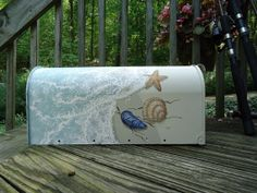 Hand Painted Mailbox of Shells on the Beach by PatMcWhorter, $98.00