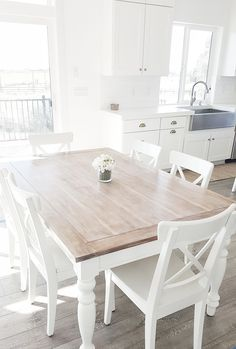 White Dining Room Table And Chairs white dining table dining room table, liming HHGPWNO - Home Decor Ideas Cottage Dining Rooms, Living Room, Small Dining, Dining Room Design, Sweet Home, Interior Design, Interior Paint, Liming Wax, Kitchen Organization