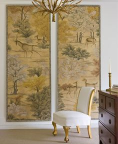 Instead of wallpapering a room, place hand painted wallpaper in frames and hang them.