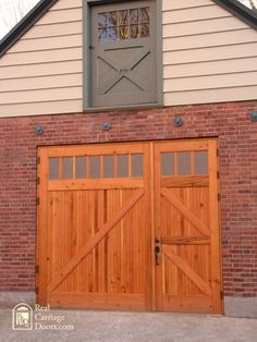 love the second story door even if it was a false door - wooden garage doors. love the second story door even if it was a false door - Single Garage Door, Garage Door Paint, Garage Door Design, Carport Garage, Barn Garage, Shop Doors, House Doors, Carriage Garage Doors, Carriage House