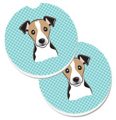 Checkerboard Blue Jack Russell Terrier Set of 2 Cup Holder Car Coasters BB1199CARC