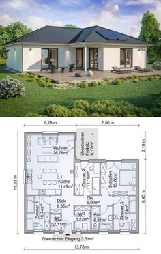 Bungalow house modern floor plan with hipped roof architecture & 5 rooms – angled bungalow build ideas prefabricated house SH 115 WB XXL variant B by ScanHaus Marlow – HausbauDirekt.de – home design ideas – Architektur Modern Floor Plans, Contemporary House Plans, Modern House Plans, Modern House Design, Kitchen Contemporary, Kitchen Modern, Bathroom Modern, Modern Houses, Bungalow House Plans