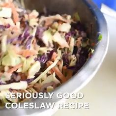 Best Coleslaw Recipe, Homemade Coleslaw, Kitchen Recipes, New Recipes, Salad Recipes, Food Videos, Delish, Cabbage, Veggies