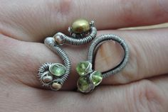 Woven Wire Wrapped Ring, Adjustable Woven Wire Ring, Iridescent Green Freshwater Pearl and Peridot Ring, Natural Shell Artisan Wire Jewelry by ForestBeads, $39.99