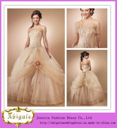Abigale Custom Made Ball Gown Floor Length Hand-Made Flower Embroidery Beaded Quinceanera Dresses (SR26)
