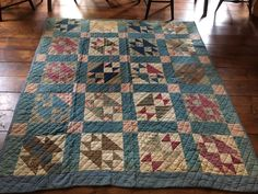 Antique Quilt Blue Calico Quilt BEST Brown Early Homespun Back Textile AAFA #NaivePrimitive