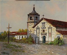 """"""" Mission Santa Clara de Asis"""" by Edwin Deakin. On Display at the Santa Barbara Mission Archive Library. www.fineartconservationlab.com"""
