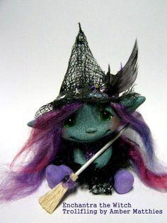 OOAK Trollfling Troll Witch doll Enchantra by Amber Matthies