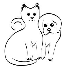 Vetor: Kitty and doggy silhouettes vector