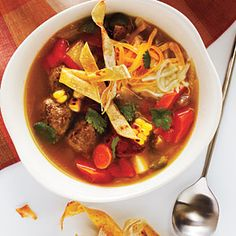 If you can't find fresh corn on the cob, substitute 2 cups frozen corn kernels, and broil them with peppers. After making this Tortilla Meatball Soup, you can use a few leftover chipotle chiles to … Meatball Soup, Meatball Recipes, Chicken Recipes, Best Soup Recipes, Healthy Recipes, Healthy Soups, Healthy Eating, Easy Recipes, Healthy Food