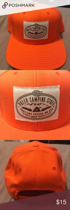 "Poler Camping Stuff Orange SnapBack Hat Poler Orange SnapBack cap. Worn once, great condition. Patch says ""Poler Outdoor Stuff / Portland Oregon NW USA / The Worlds Highest Standard Of Stuff"" Poler Accessories Hats"