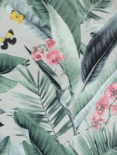 This Lush Tropical Wallpaper will add a chic exotic touch to your home with it's simple yet effective design. It features a palm leaf print in shades of green, with flowers and butterflies adding splashes of pink and yellow. This is set on a soft grey background that has a faint crosshatch pattern for a fabric effect, with a lightly textured finish. Easy to apply, this high quality wallpaper would look great as a feature wall or equally good when used to decorate a whole room. Shades Of Green, Green And Grey, Tropical Wallpaper, High Quality Wallpapers, Print Wallpaper, Gray Background, Exotic Pets, Leaf Prints, Main Colors