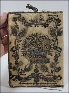 17th-Century Embroidered Silver & Gold Thread Silk Book Cover.