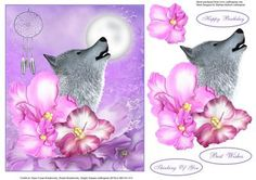 Tropical Wolf Dreams Topper with Decoupage on Craftsuprint designed by Barbara Hiebert - This is a wild wolf howling in a tropical forest of flowers and dreams.The sentiment tags say.Thinking Of YouBest WishesHappy Birthday - Now available for download!