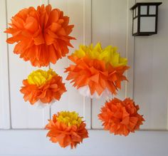 5 Candy Corn Tissue Paper Pom Poms / by LadiesWhoLunchPoms on Etsy, $14.00