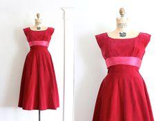 vintage 1950s dress // 50s pink velvet evening / by TrunkofDresses, $100.00