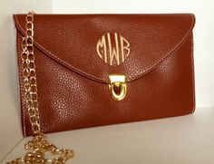 Women's Monogrammed  Clutch Purse - BROWN. $30.00, via Etsy.