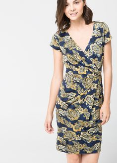 Paisley-print satin dress