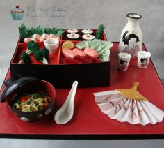 Japanese Bento Box - Everything is edible.  My entry in to the Cake International competition. (ORI> PIN)