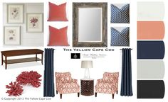 Navy and Coral Room, light yellow instead of the light blue and brown instead of black