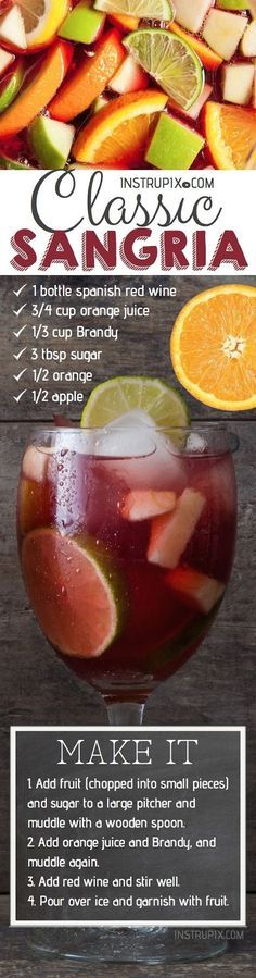 Easy Homemade Classic Sangria Recipe made with brandy, red wine, orange juice and fresh fruit! It's perfect for summer, or any time of year! (fun summer drinks alcohol recipes for) Summer Drinks, Fun Drinks, Alcoholic Drinks, Beverages, Drinks Alcohol, Alcohol Recipes, Red Sangria Recipes, Cocktail Recipes, Red Wine Sangria
