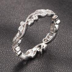 Art Deco Antique Floral H/SI Diamonds 14K White Gold Eternity Wedding Band Ring