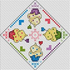 cupcake x stitch (would be darling as a tea towel or potholder)