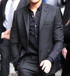 clean cut stylish look: dark grey suit & black shirt