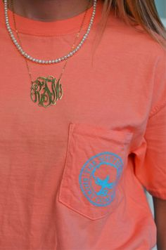 t-shirt, pearls, & monogram necklace