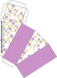 Caixa Fatia Floral Lilás:
