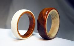 Pair of Wood and Antler Rings  Reversed Design by Endeavours, $190.00