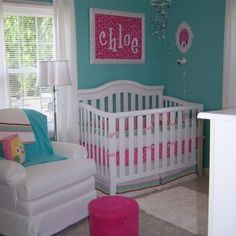 Love the colors for a baby girl room and that's baby girls name on the wall