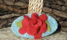 Wool Felt Hair Clip -- Strawberry Pink Hydrangea on Baby Blue. $4.00, via Etsy.