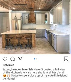 Home Renovation Rustic Love the vent over the stove area! Just add a few feet between fridge n stovetop Kitchen Interior, New Kitchen, Kitchen Decor, Kitchen Design, Kitchen Island, Kitchen Ideas, Island Table, Rustic Kitchen, Kitchen Cabinets