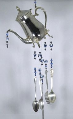 Silver Teapot Wind Chime Silverware Wind by passingtimeandchimes