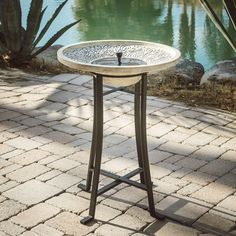 Belham Living Perello Concrete Solar Bird Bath by Smart Solar | from hayneedle.com
