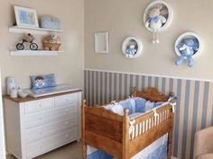 Quarto de bebê masculino com trocador #quartodebebê #decoração Baby Boy Room Decor, Baby Room Design, Girl Bedroom Designs, Baby Bedroom, Baby Boy Rooms, Baby Boy Nurseries, Baby Shower Themes, Cribs, Decoration