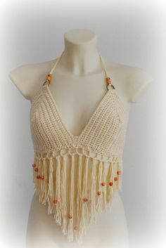 Crochet crop top, beige crochet fringle halter top, light beige halter top…
