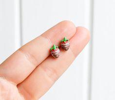 Strawberry with chocolate earrings - handmade tiny chocolate dipped enamel stud…