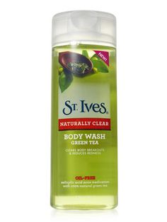 St. Ives Naturally Clear Green Tea Body Wash ($5.69)    This serious sudser banishes body breakouts with salicylic acid, but still smells fresh.