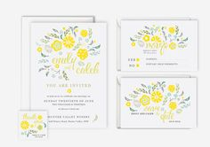 Yellow & Grey Floral Design Wedding Invitation Suite (Printable) - save the date, rsvp, reply, favor tag, wedding stationery set
