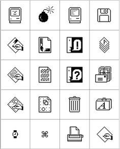 Susan Kare User Interface Graphics for Apple Macintosh Icon Design, Web Design, Graphic Design, Flat Design, Logo Design, Icons Web, Internet Icon, Apple Icon, Computer Icon