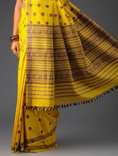 dcd3f652c Yellow-Violet Cotton Silk Assamese Saree Pinned by Sujayita Handloom Saree
