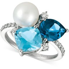 Le Vian London Blue Topaz (1-3/4 ct. t.w.), Blue Topaz (2-1/3 ct. (4.755 BRL) ❤ liked on Polyvore featuring jewelry, white gold, diamond jewellery, 14k jewelry, le vian, fresh water pearl jewelry and 14 karat gold jewelry