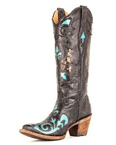 Crystal Cattle: Country Outfitter Turquoise, Copper and Black Cowboy Boots.
